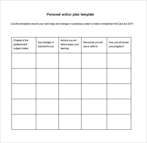 Personal Action Plan Template Example with Table Format in 5 Rows ...