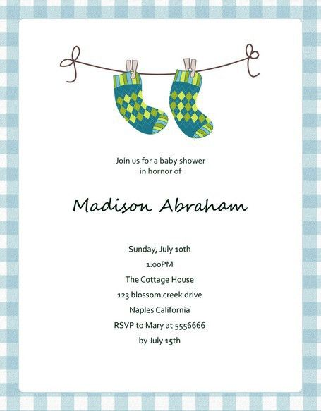 Cute Blue Socks Baby Shower Invitation Template