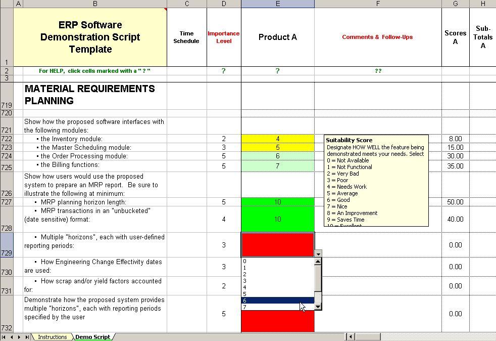 vendor evaluation criteria template