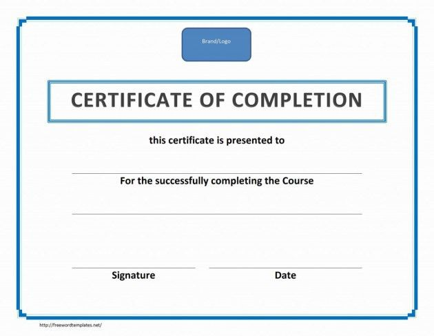 Training Certificate of Completion Template with Blue Outline and ...
