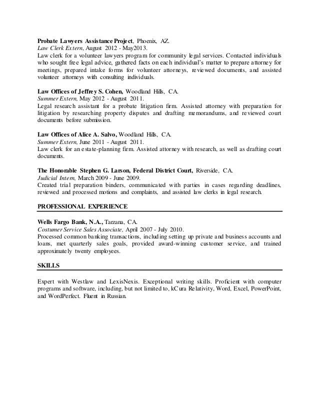 sample resume. judiciary clerk resume legal cover letter format ...