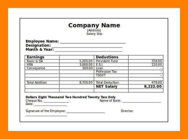 Salary Slip Salary Slip Format Graphics And Templates Top 5 – Simple Payslip Format
