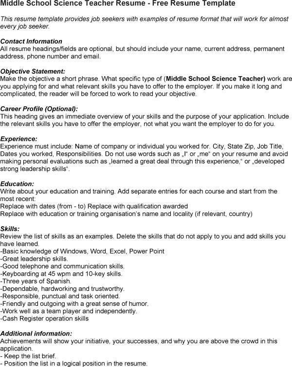 middle school teacher resume perfect resume 2017. cv for teachers ...