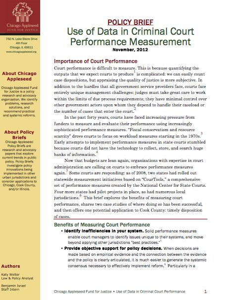 Policy Brief: Use of Data in Criminal Court Performance Measurement
