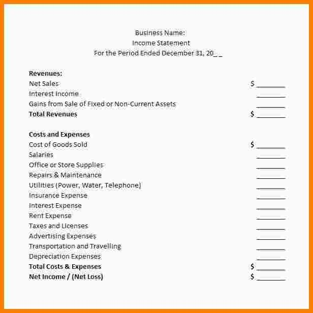 7+ business financial statement template | Statement Information