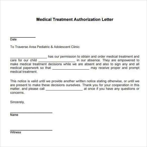 medical treatment authorization letter template child consent form ...