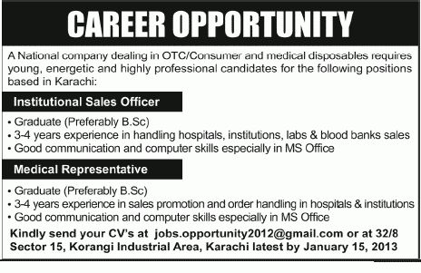 Institutional Sales Officer, Medical Representative Jobs in Karachi