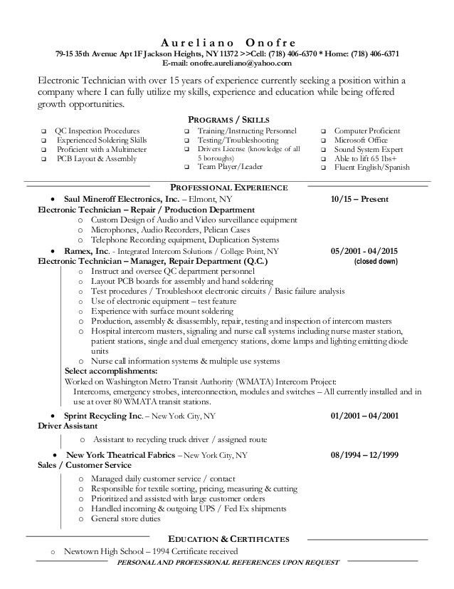 6 resume for electronic technician. sales engineer sample resume ...