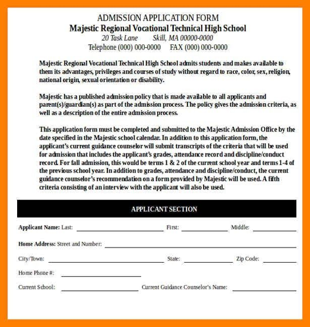 Beautiful Sample Application For School Admission Ideas - Best ...