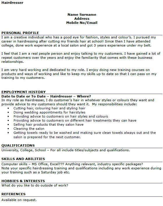Hairdresser CV Example - icover.org.uk