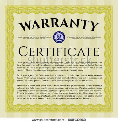 Yellow Formal Warranty Certificate Template Complex Stock Vector ...