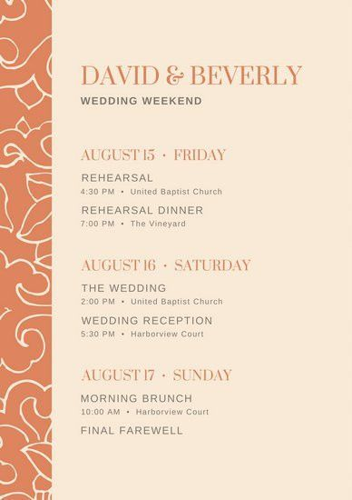 Wedding Itinerary Planner Templates - Canva