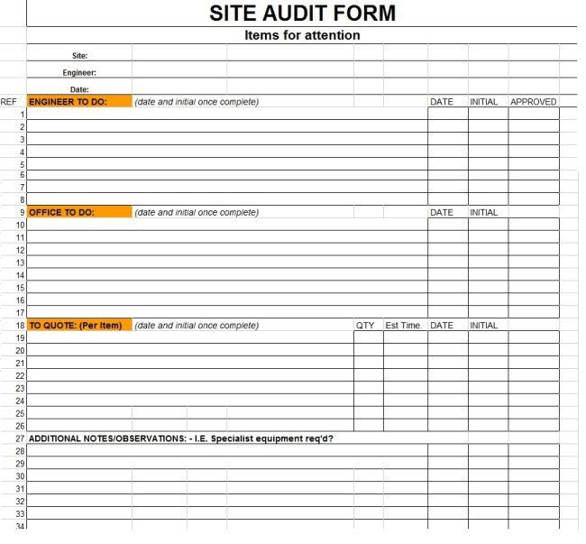 Excellent Sample of Site Audit Form Template in Excel Format with ...