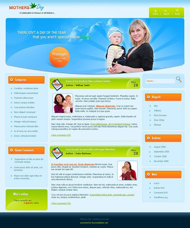 Website wordpress templates for mothers day