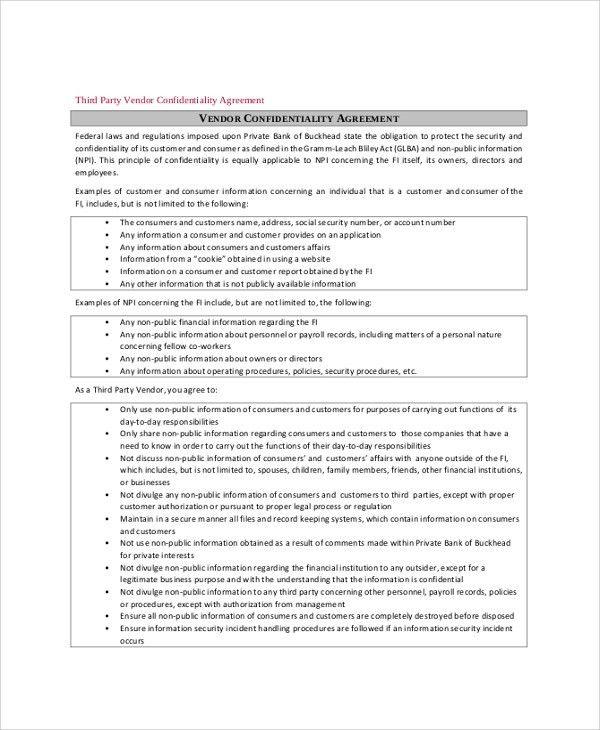 Vendor Confidentiality Agreement. 7+ Vendor Agreement | Army Memo ...