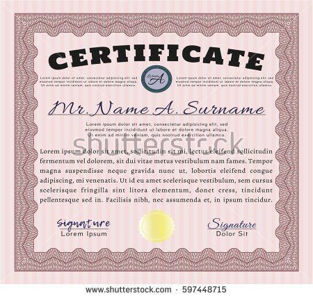 Certificate Diploma Completion Design Template Background Stock ...