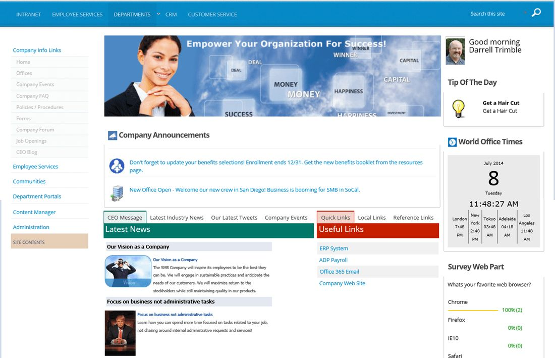 Business Intranet Portal Template for Office 365 and SharePoint ...
