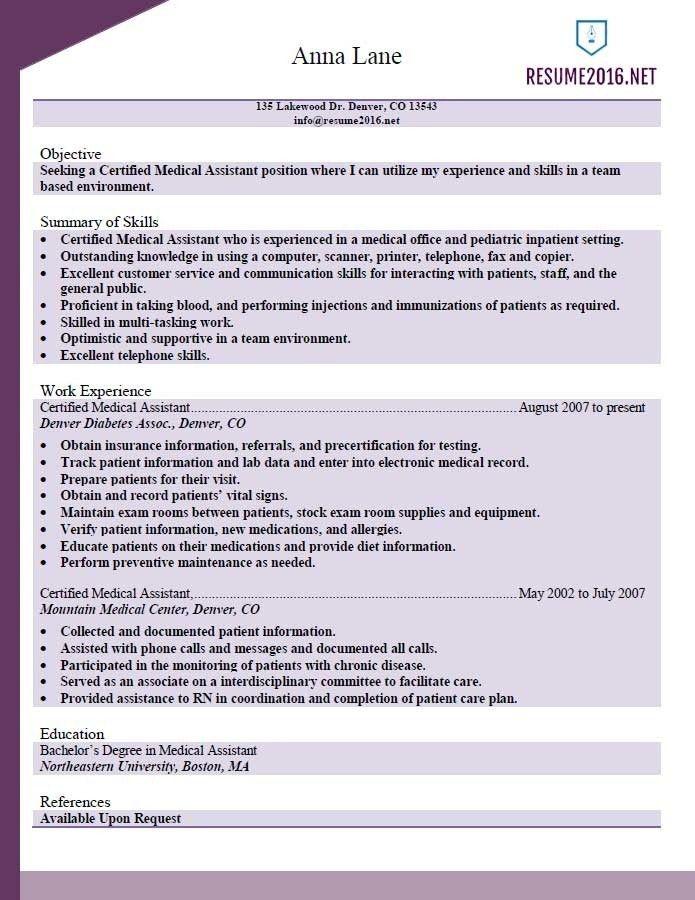 certified medical assistant resume sample 2016. certified medical ...