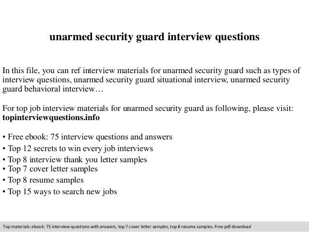 Unarmed security guard interview questions