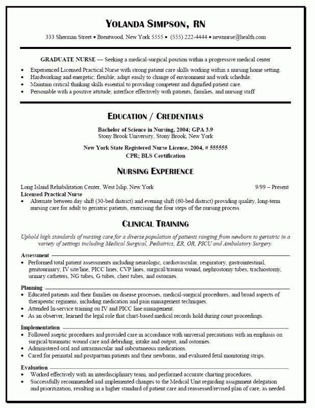 New Graduate Nurse Resume Template   Samples Of Resumes