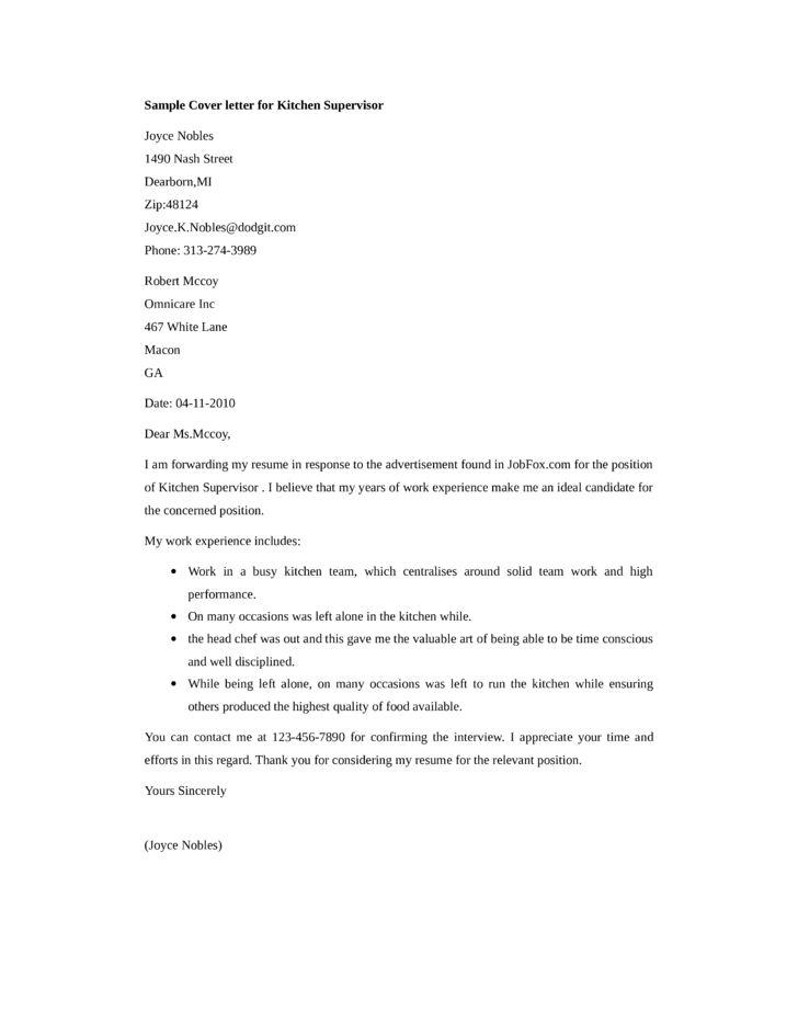 Basic Kitchen Supervisor Cover Letter Samples and Templates