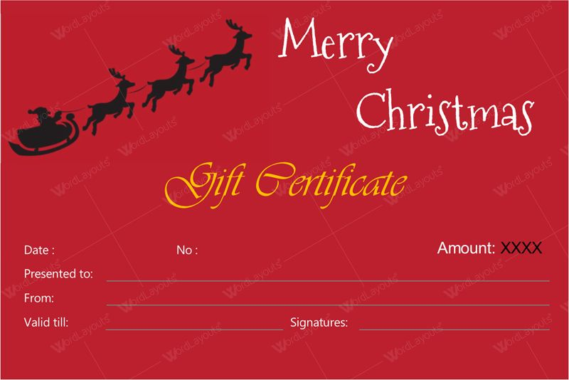 Christmas Gift Certificate Templates for Word (Editable & Printable)