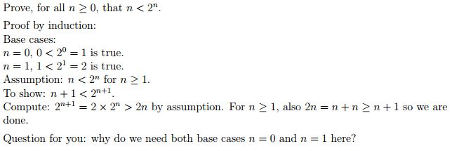induction - Why are two base cases needed to prove that $n<2^n ...
