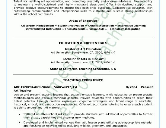 example art teacher resume free sample. art education resume grade ...