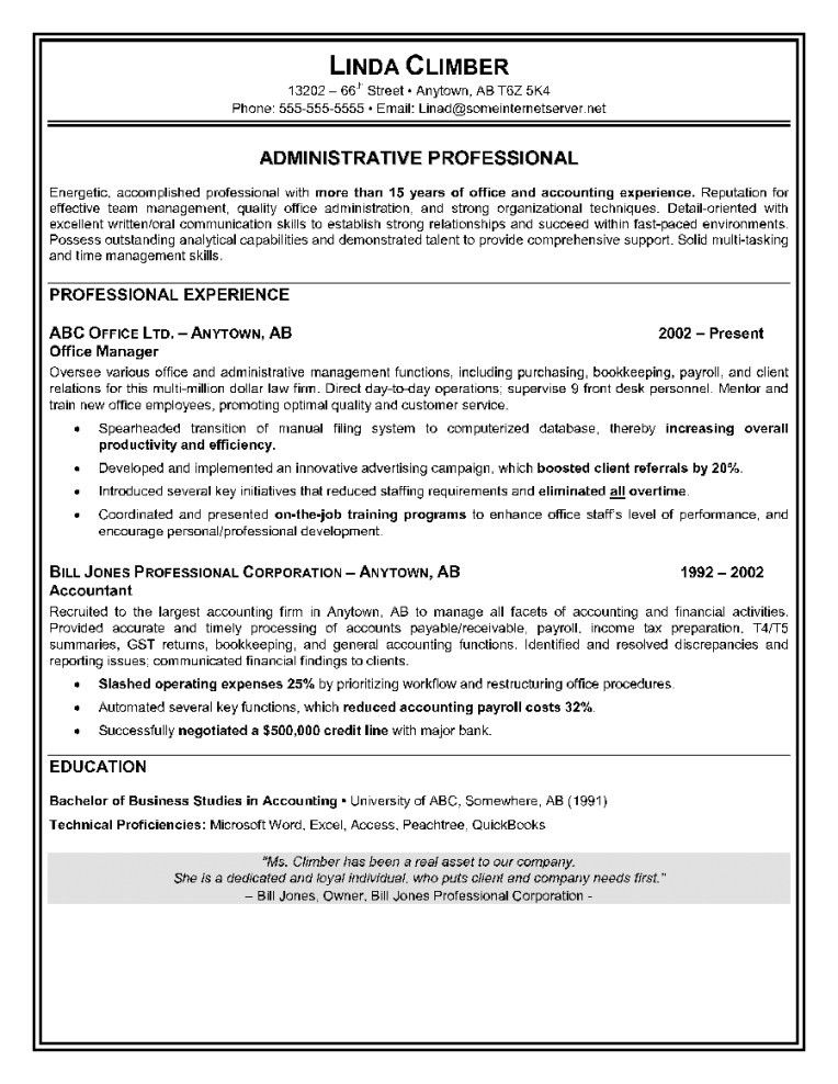 Resume Sample For Administrative Assistant Position | Resume ...