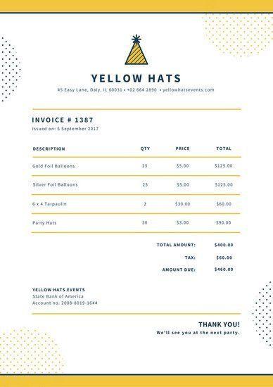 Yellow and Dark Blue Invoice Letterhead | Stellar Canva Templates ...