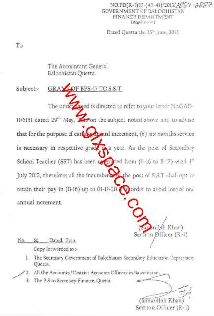 Notification of Fixation of Pay after Annual Increment to the ...