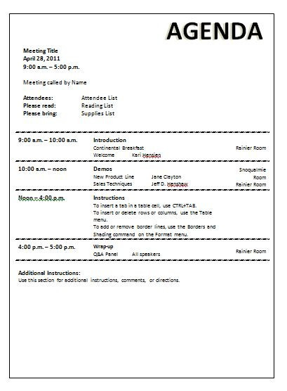 Meeting Agenda Template | http://webdesign14.com/