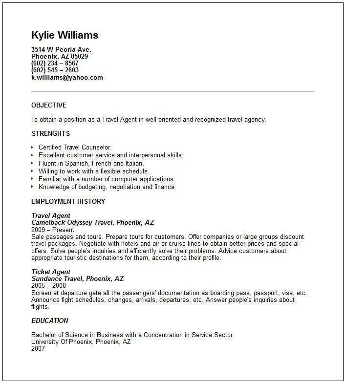 Resume Travel Agent Sample - Contegri.com