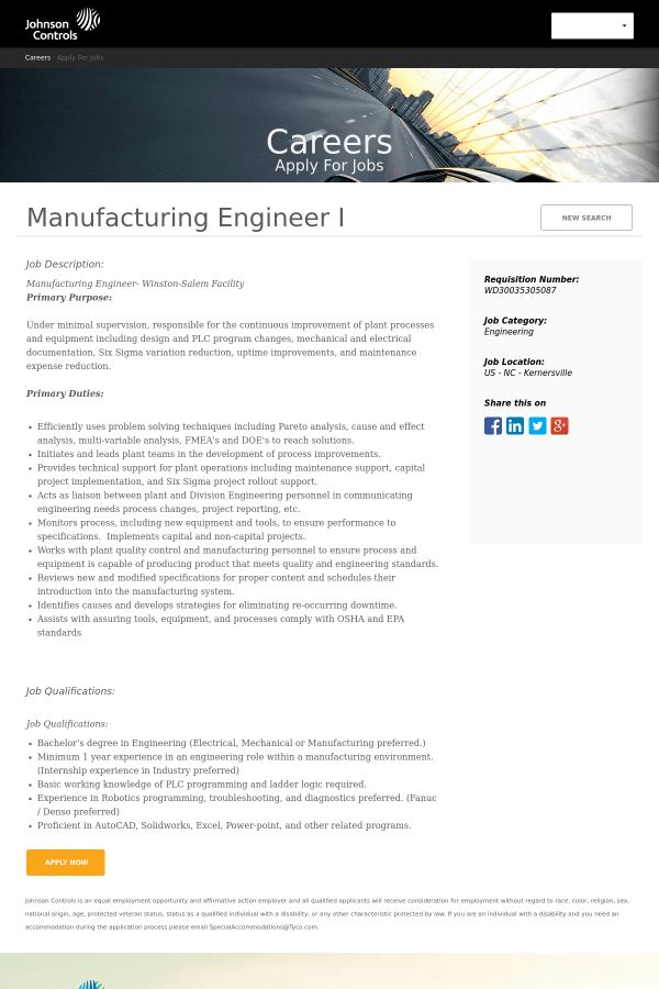 Manufacturing Engineer I job at Johnson Controls in Kernersville ...