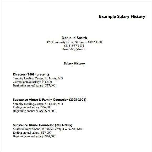 Salary History Template - 6+ Download Free Documents in PDF , Word