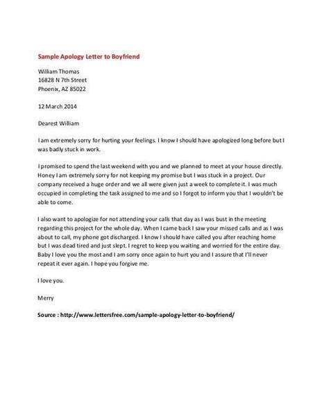 Personal Apology Letter Example | Sample Letter...