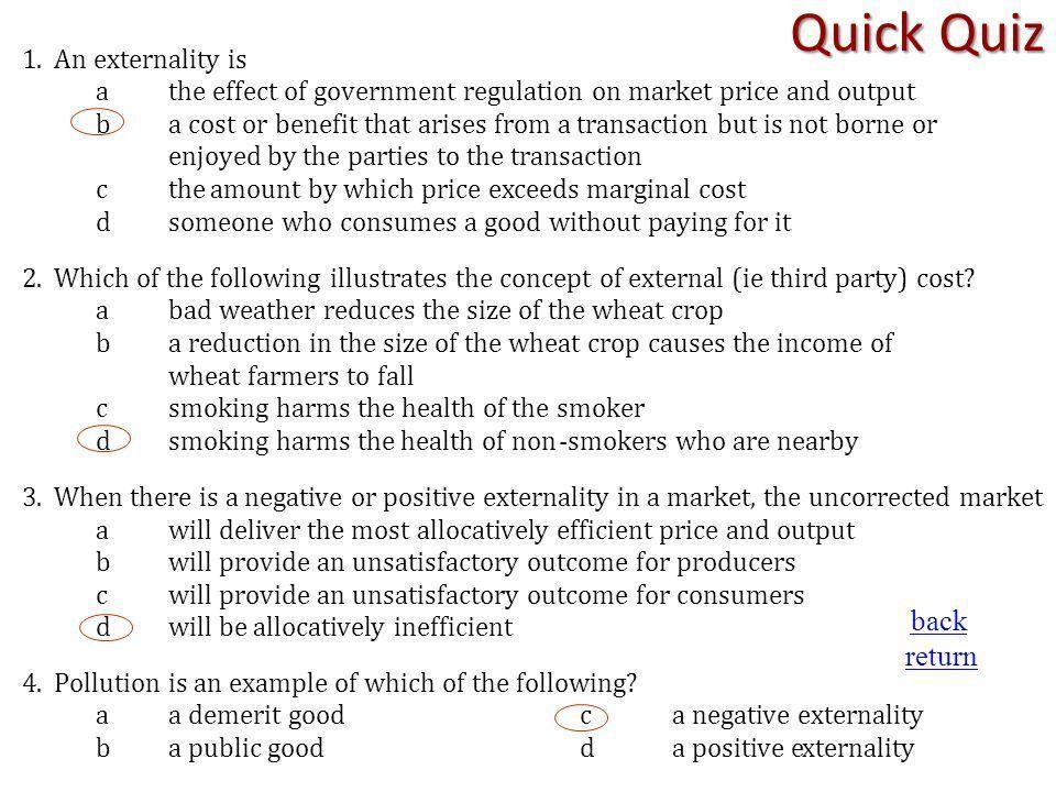 Level 5 Economics: Market Failure Learning Outcome Four Economic ...