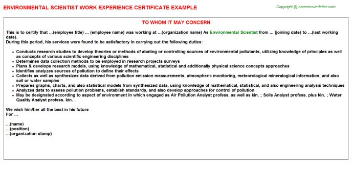 Environmental Scientist Work Experience Certificate