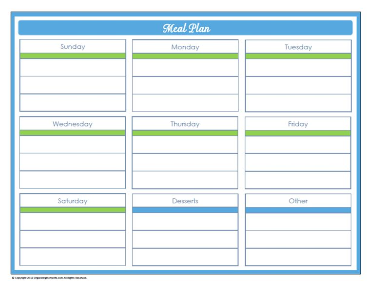 31 Days of Home Management Binder Printables: Day #24 Weekly Meal ...