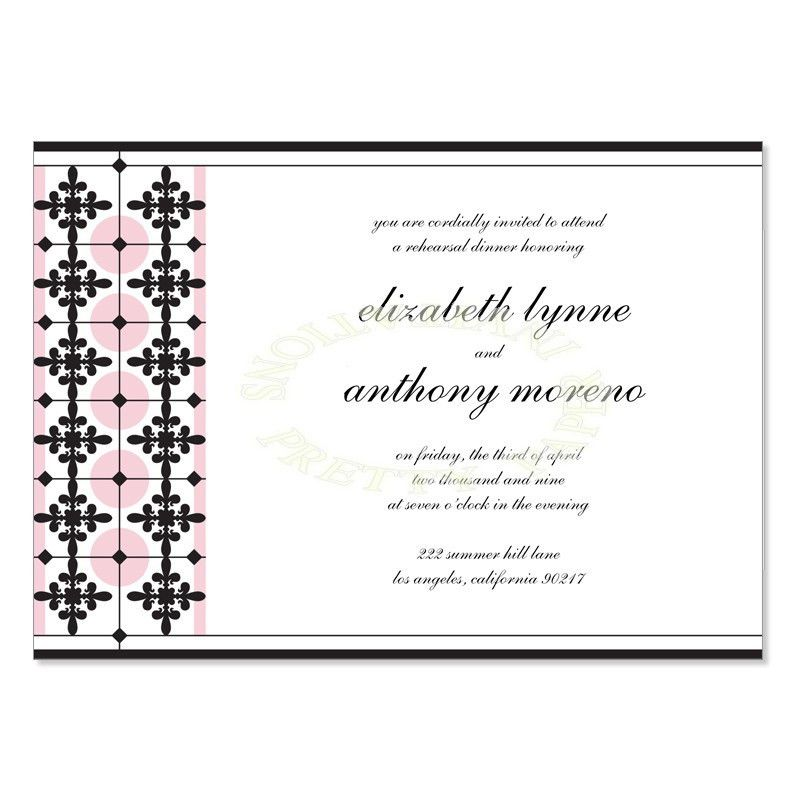 Pink & Black Rehearsal Dinner Invitation Templates - Monica Petal ...