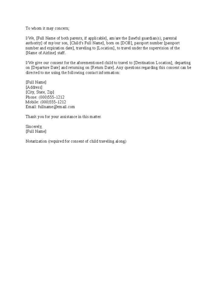 child travel consent letter sample | Docoments Ojazlink