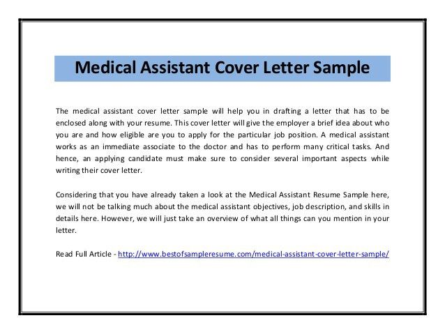 Medical assistant cover letter sample pdf