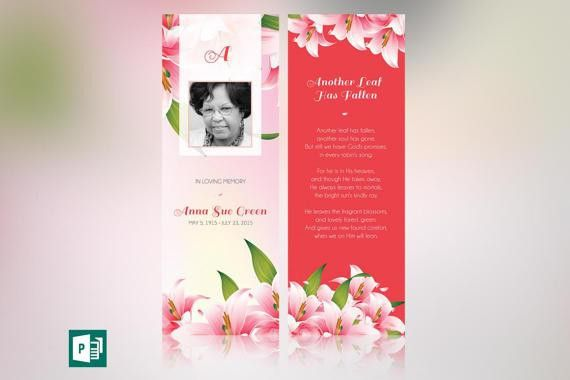 Petals Memorial Bookmark Publisher Template from Godserv on Etsy ...
