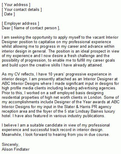Interior Designer Covering Letter Sample