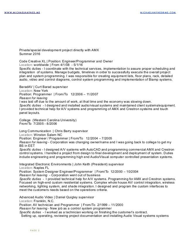 audio visual technician resume audio visual technician cv