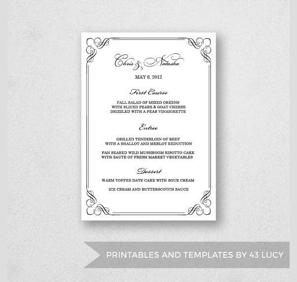 17+ Dinner Party Menus - PSD, Word