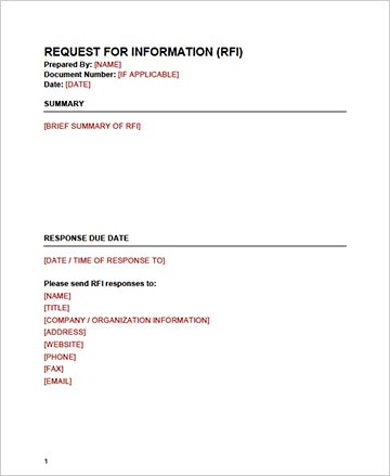 Download our RFI Template in Word | Create a RFI Today