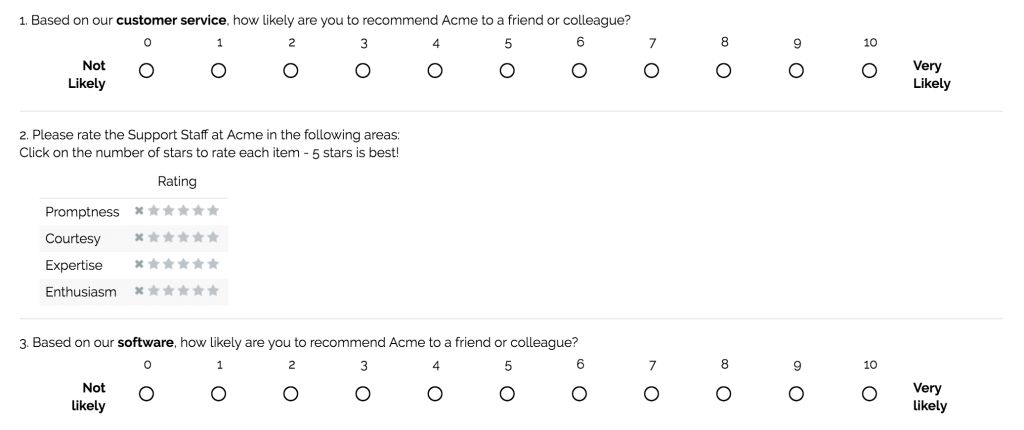 Sample Questions: Customer Satisfaction Surveys
