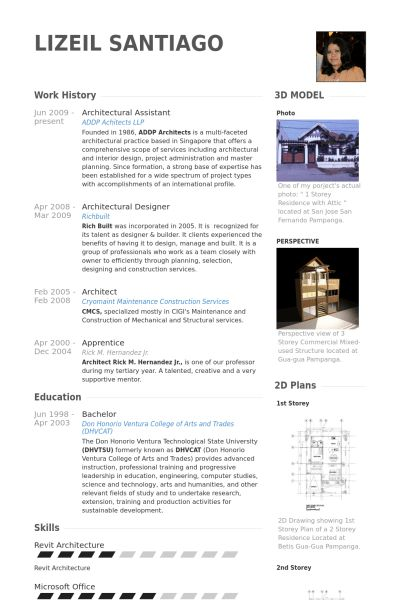 Architectural Assistant Resume samples - VisualCV resume samples ...