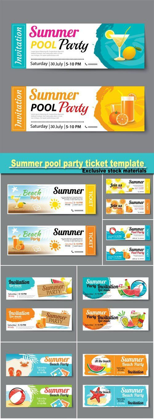 Summer pool party ticket template | ticket design | Pinterest ...